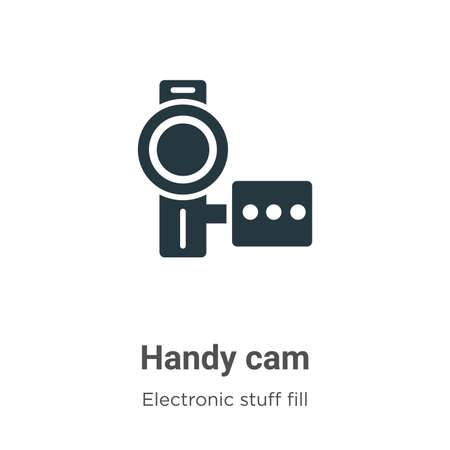 Handy cam vector icon on white background. Flat vector handy cam icon symbol sign from modern electronic stuff fill collection for mobile concept and web apps design.