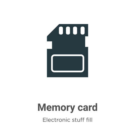 Memory card vector icon on white background. Flat vector memory card icon symbol sign from modern electronic stuff fill collection for mobile concept and web apps design. Çizim