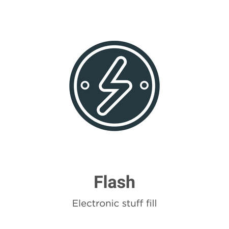 Flash vector icon on white background. Flat vector flash icon symbol sign from modern electronic stuff fill collection for mobile concept and web apps design.