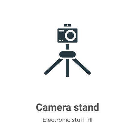 Camera stand vector icon on white background. Flat vector camera stand icon symbol sign from modern electronic stuff fill collection for mobile concept and web apps design. Çizim