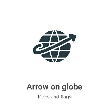Arrow on globe vector icon on white background. Flat vector arrow on globe icon symbol sign from modern maps and flags collection for mobile concept and web apps design.