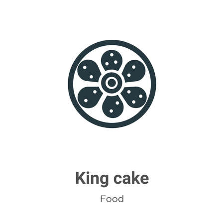 King cake vector icon on white background. Flat vector king cake icon symbol sign from modern food collection for mobile concept and web apps design.
