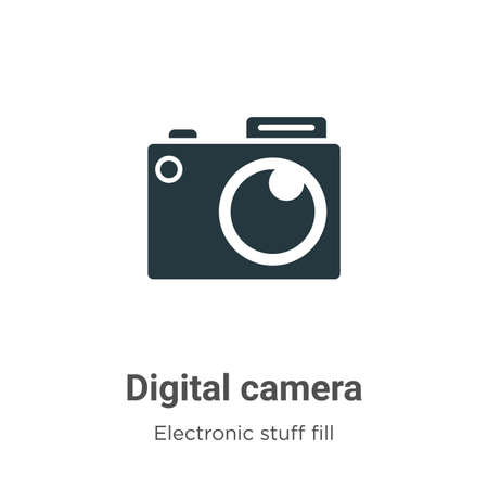 Digital camera vector icon on white background. Flat vector digital camera icon symbol sign from modern electronic stuff fill collection for mobile concept and web apps design.