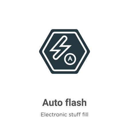 Auto flash vector icon on white background. Flat vector auto flash icon symbol sign from modern electronic stuff fill collection for mobile concept and web apps design.