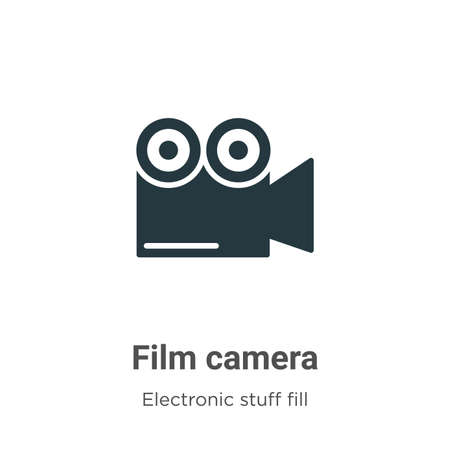 Film camera vector icon on white background. Flat vector film camera icon symbol sign from modern electronic stuff fill collection for mobile concept and web apps design.