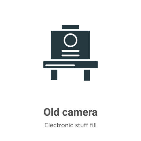 Old camera vector icon on white background. Flat vector old camera icon symbol sign from modern electronic stuff fill collection for mobile concept and web apps design.