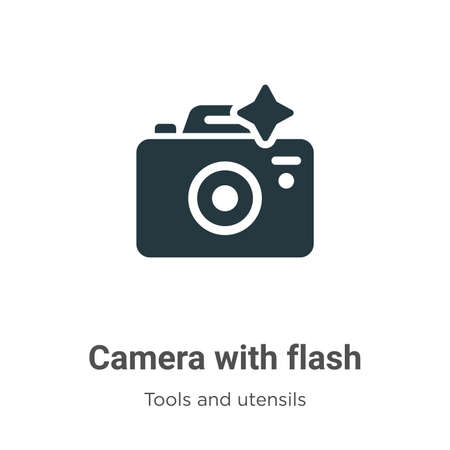Camera with flash vector icon on white background. Flat vector camera with flash icon symbol sign from modern tools and utensils collection for mobile concept and web apps design.