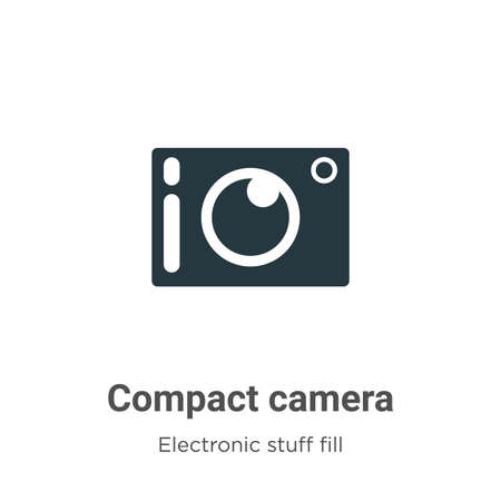 Compact camera vector icon on white background. Flat vector compact camera icon symbol sign from modern electronic stuff fill collection for mobile concept and web apps design.