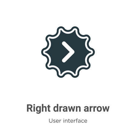 Right drawn arrow vector icon on white background. Flat vector right drawn arrow icon symbol sign from modern user interface collection for mobile concept and web apps design. 向量圖像