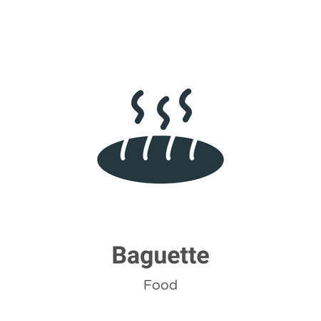 Baguette vector icon on white background. Flat vector baguette icon symbol sign from modern food collection for mobile concept and web apps design. Ilustracja