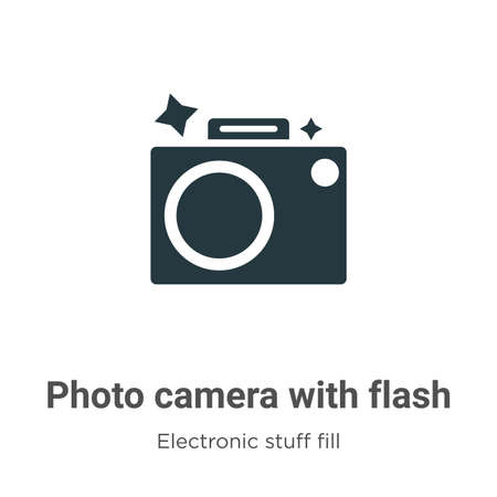 Photo camera with flash vector icon on white background. Flat vector photo camera with flash icon symbol sign from modern electronic stuff fill collection for mobile concept and web apps design.