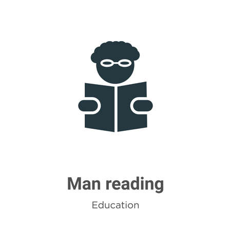 Man reading vector icon on white background. Flat vector man reading icon symbol sign from modern education collection for mobile concept and web apps design. Stockfoto - 161394114
