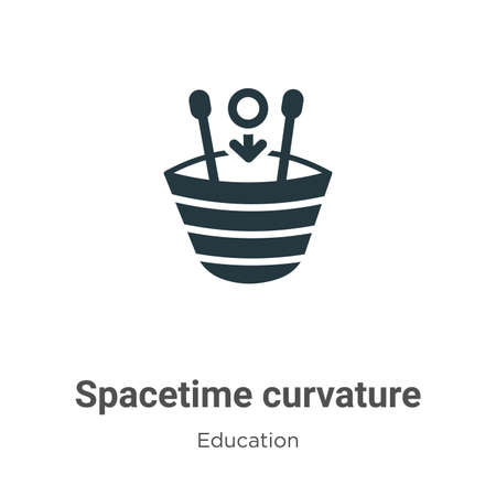 Spacetime curvature vector icon on white background. Flat vector spacetime curvature icon symbol sign from modern education collection for mobile concept and web apps design.