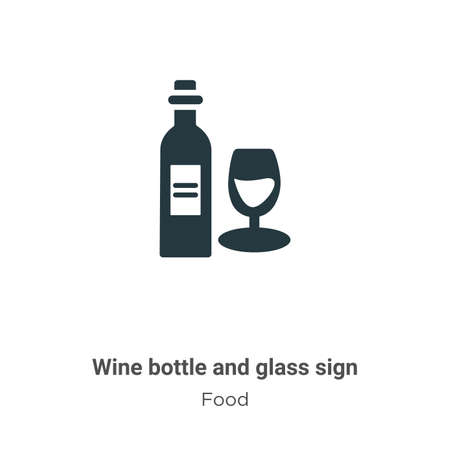 Wine bottle and glass sign vector icon on white background. Flat vector wine bottle and glass sign icon symbol sign from modern food collection for mobile concept and web apps design. Çizim