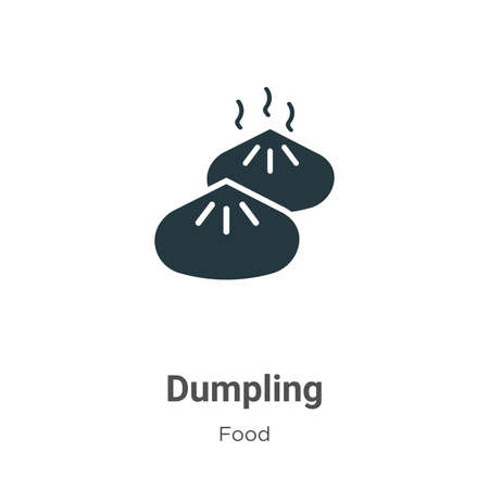 Dumpling vector icon on white background. Flat vector dumpling icon symbol sign from modern food collection for mobile concept and web apps design.  イラスト・ベクター素材