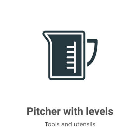 Pitcher with levels vector icon on white background. Flat vector pitcher with levels icon symbol sign from modern tools and utensils collection for mobile concept and web apps design.
