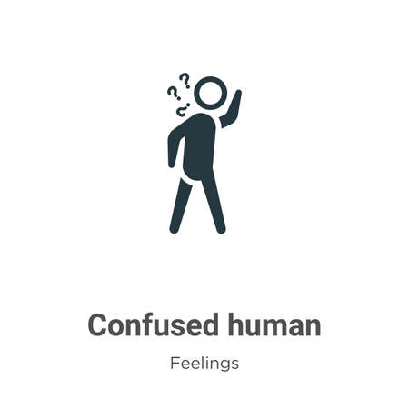 Confused human vector icon on white background. Flat vector confused human icon symbol sign from modern feelings collection for mobile concept and web apps design.