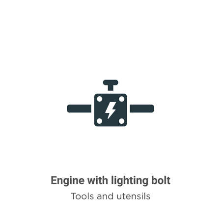 Engine with lighting bolt vector icon on white background. Flat vector engine with lighting bolt icon symbol sign from modern tools and utensils collection for mobile concept and web apps design.