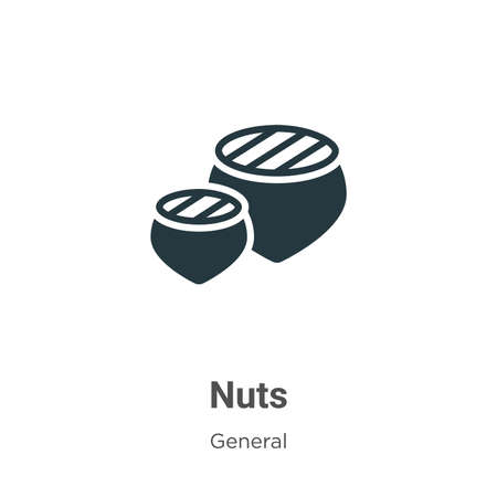 Nuts vector icon on white background. Flat vector nuts icon symbol sign from modern general collection for mobile concept and web apps design. Ilustração