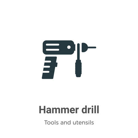 Hammer drill vector icon on white background. Flat vector hammer drill icon symbol sign from modern tools and utensils collection for mobile concept and web apps design.