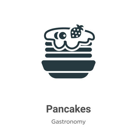 Pancakes vector icon on white background. Flat vector pancakes icon symbol sign from modern gastronomy collection for mobile concept and web apps design. Ilustracja