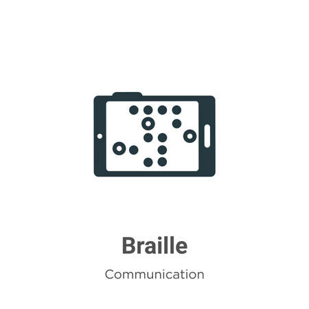 Braille vector icon on white background. Flat vector braille icon symbol sign from modern communication collection for mobile concept and web apps design.