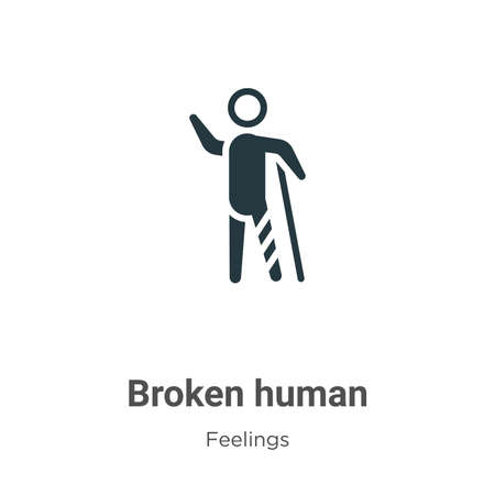 Broken human vector icon on white background. Flat vector broken human icon symbol sign from modern feelings collection for mobile concept and web apps design.