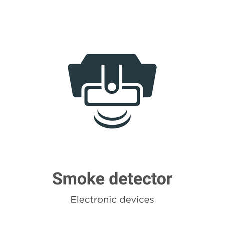 Smoke detector vector icon on white background. Flat vector smoke detector icon symbol sign from modern electronic devices collection for mobile concept and web apps design.