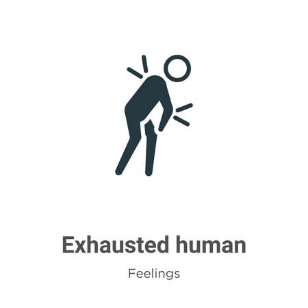 Exhausted human vector icon on white background. Flat vector exhausted human icon symbol sign from modern feelings collection for mobile concept and web apps design.