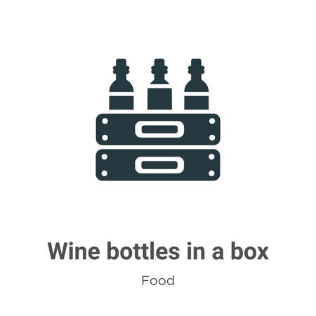 Wine bottles in a box vector icon on white background. Flat vector wine bottles in a box icon symbol sign from modern food collection for mobile concept and web apps design.