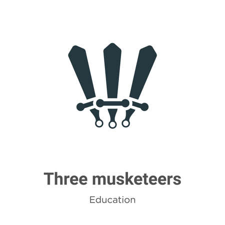 Three musketeers vector icon on white background. Flat vector three musketeers icon symbol sign from modern literature collection for mobile concept and web apps design.