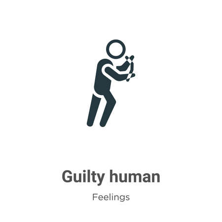 Guilty human vector icon on white background. Flat vector guilty human icon symbol sign from modern feelings collection for mobile concept and web apps design.