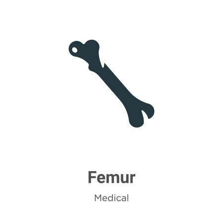 Femur vector icon on white background. Flat vector femur icon symbol sign from modern medical collection for mobile concept and web apps design. Illustration