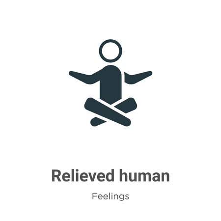 Relieved human vector icon on white background. Flat vector relieved human icon symbol sign from modern feelings collection for mobile concept and web apps design. 向量圖像