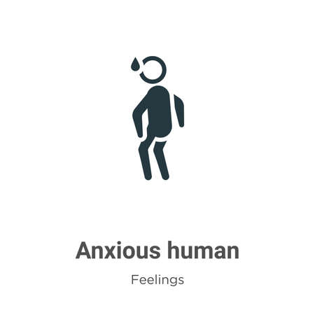 Anxious human vector icon on white background. Flat vector anxious human icon symbol sign from modern feelings collection for mobile concept and web apps design.