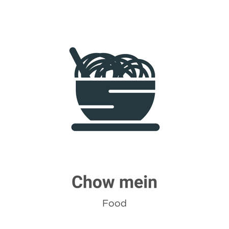 Chow mein vector icon on white background. Flat vector chow mein icon symbol sign from modern food collection for mobile concept and web apps design.