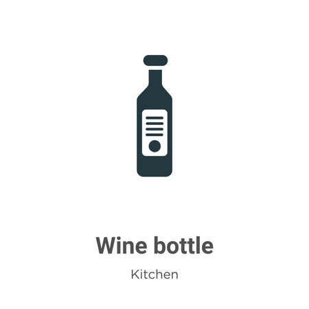 Wine bottle vector icon on white background. Flat vector wine bottle icon symbol sign from modern kitchen collection for mobile concept and web apps design.