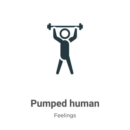 Pumped human vector icon on white background. Flat vector pumped human icon symbol sign from modern feelings collection for mobile concept and web apps design.