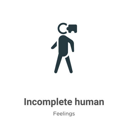 Incomplete human vector icon on white background. Flat vector incomplete human icon symbol sign from modern feelings collection for mobile concept and web apps design.