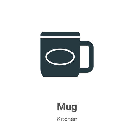 Mug vector icon on white background. Flat vector mug icon symbol sign from modern kitchen collection for mobile concept and web apps design.