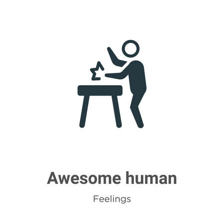 Awesome human vector icon on white background. Flat vector awesome human icon symbol sign from modern feelings collection for mobile concept and web apps design.