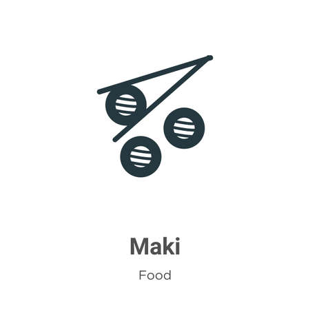Maki vector icon on white background. Flat vector maki icon symbol sign from modern food collection for mobile concept and web apps design.
