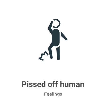 Pissed off human vector icon on white background. Flat vector pissed off human icon symbol sign from modern feelings collection for mobile concept and web apps design.