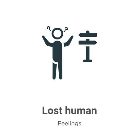 Lost human vector icon on white background. Flat vector lost human icon symbol sign from modern feelings collection for mobile concept and web apps design.