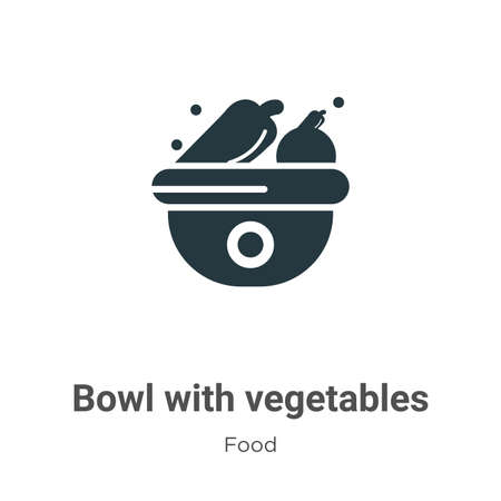 Bowl with vegetables vector icon on white background. Flat vector bowl with vegetables icon symbol sign from modern food collection for mobile concept and web apps design.