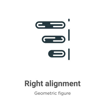 Right alignment vector icon on white background. Flat vector right alignment icon symbol sign from modern geometric figure collection for mobile concept and web apps design.