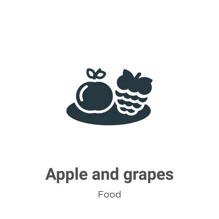 Apple and grapes vector icon on white background. Flat vector apple and grapes icon symbol sign from modern food collection for mobile concept and web apps design. Ilustracja