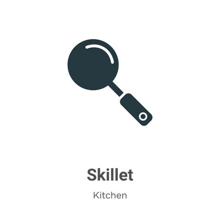 Skillet vector icon on white background. Flat vector skillet icon symbol sign from modern kitchen collection for mobile concept and web apps design.
