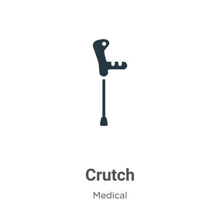 Crutch vector icon on white background. Flat vector crutch icon symbol sign from modern medical collection for mobile concept and web apps design. Çizim