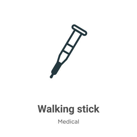 Walking stick vector icon on white background. Flat vector walking stick icon symbol sign from modern medical collection for mobile concept and web apps design.